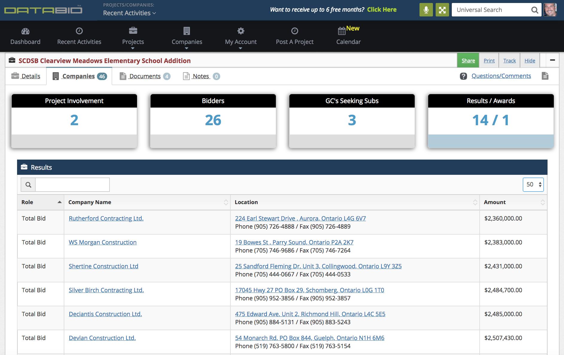 DataBid Bid Results Page