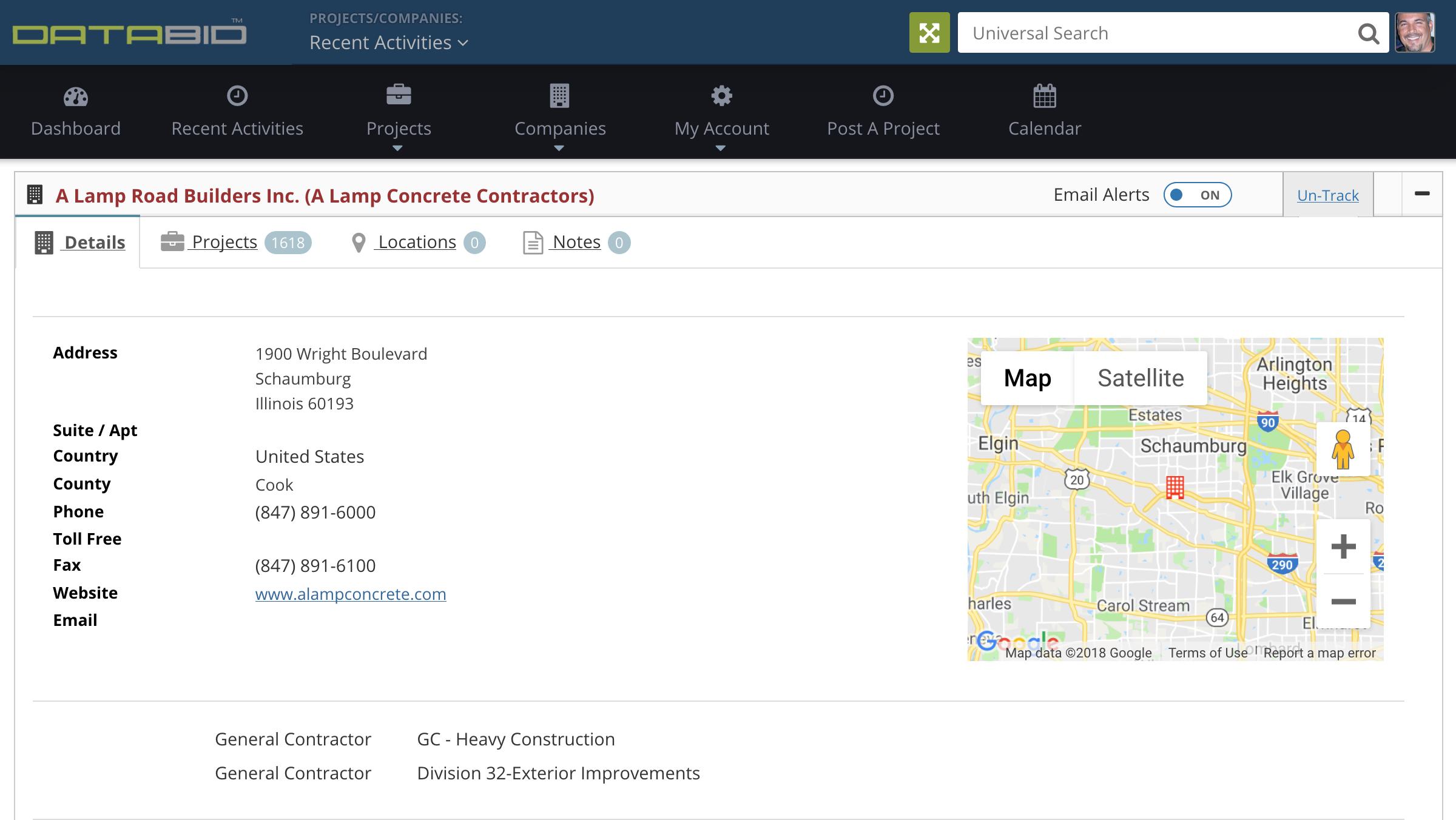 DataBid Company Detail Page
